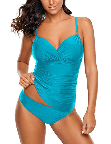 - Lookbook Store Women's Ruched Wrap Front Tankini Top Solid Two Piece Swimsuit Set with Bikini Bottom Turquoise Size Large (US 12-14)