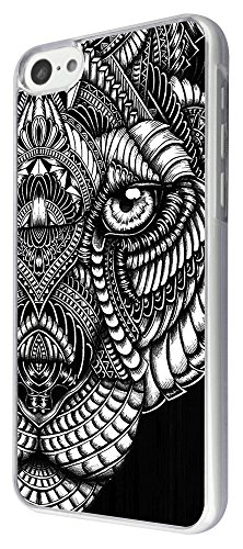 462 - Aztec tiger face black and white Design iphone 5C Coque Fashion Trend Case Coque Protection Cover plastique et métal