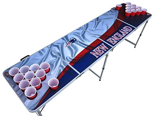 New England Beer Pong Table with Holes, 2x8, 8ft Tailgate Table with Recessed Cup Holes, Aluminum, Portable