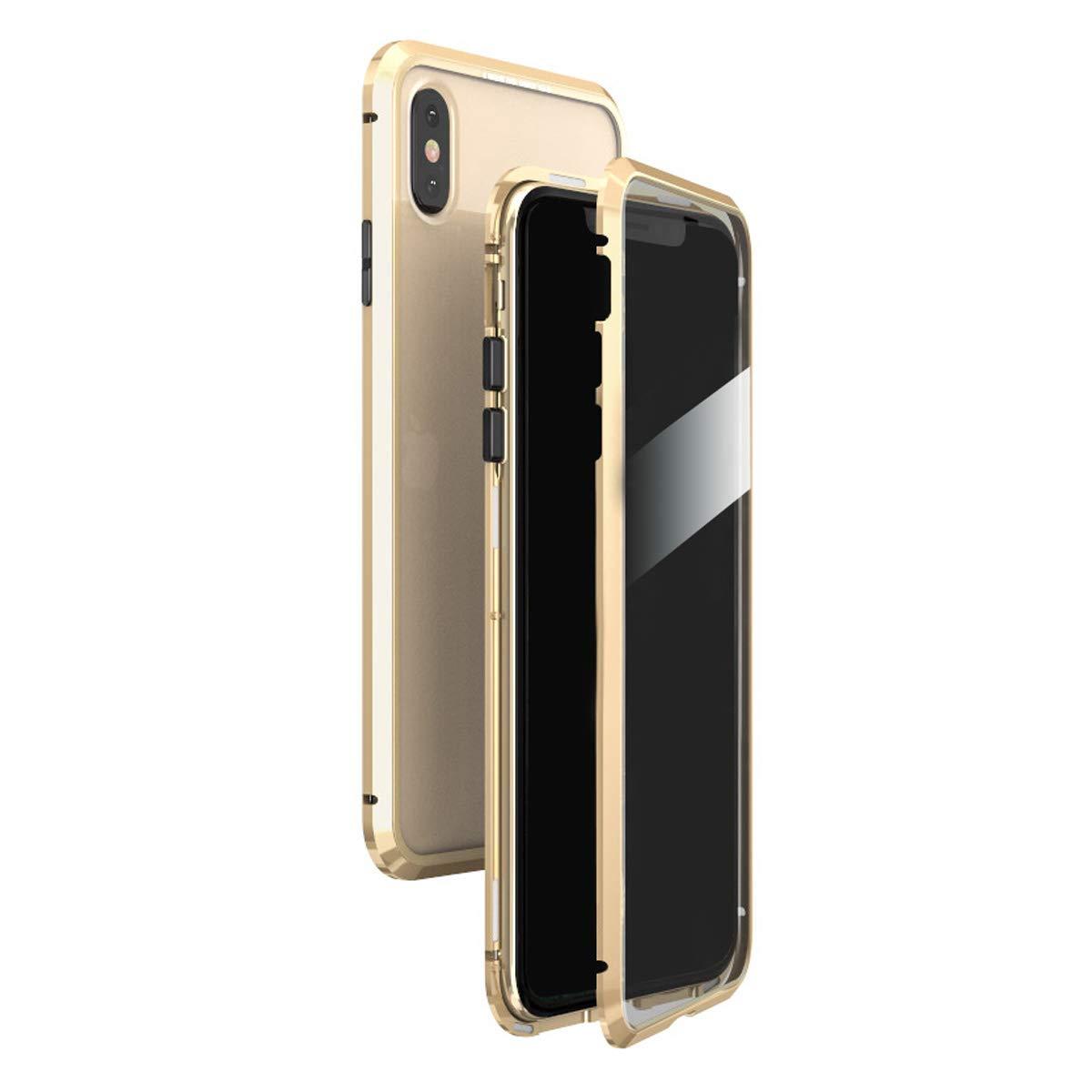 LUPHIE ルフィ iPhoneXs Max ケース マグネティック バンパーケース 9H強化ガラス (iPhoneXs Max, ゴールド)