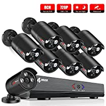 ANRAN Home Security Camera System, 8 Channel 1080P AHD DVR kits,8 X HD 720P In/Outdoor Waterproof Super Night Vision Bullet surveillance Camera,Quick Remote Access Setup Free App,No HDD