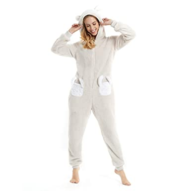 b5c437ed9c85 Women s Rabbit Ears Hooded one-Piece Fleece Onesie for Winter Autumn Animal  Pajamas Cartoon Bathrobe