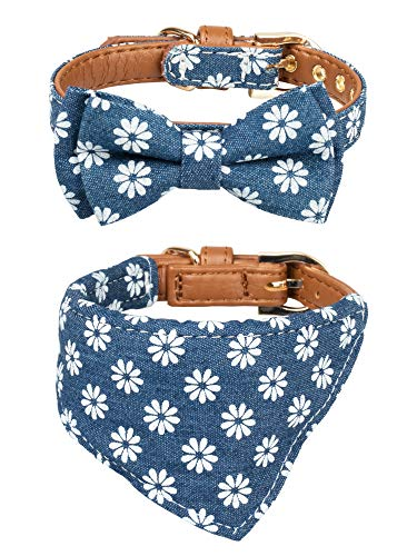 (Gyapet Collar for Cat Small Dog Bandana Bowtie Puppy Kitten 2 Packs Adjustable Scarf Cute Camo Daisy-Blue)