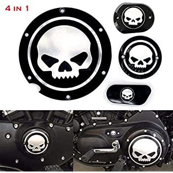 Top Valuable 3Pcs Heavy Duty Motorcycle Skull Timing Accessories Engine Derby Timer Cover Clutch Side Cover Compatible for Harley Sportster Iron XL 883 1200 48 72