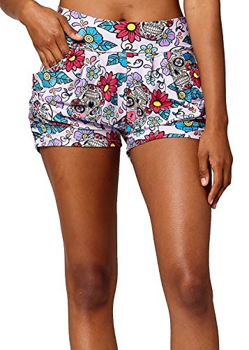 Premium Ultra Soft Harem High Waisted Shorts for Women with Pockets - Printed Patterns - Day of The Dead - Small/Medium (0-10)