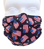Breathe Healthy Face Mask, American Flags Design. Comfortable, Reusable Protection from Dust, Pollen, Allergens, & Flu Germs with Antimicrobial