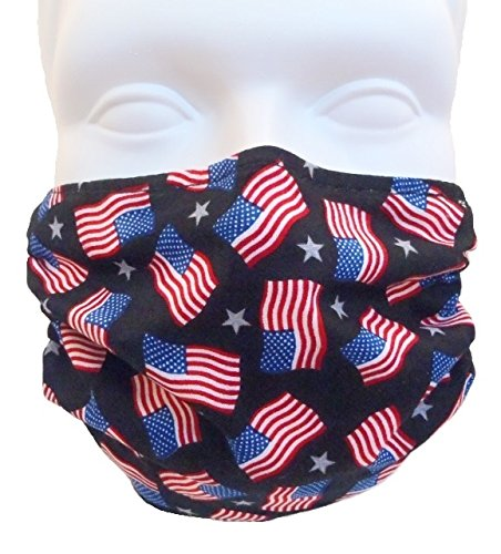 Breathe Healthy Face Mask, American Flags Design. Comfortable, Reusable Protection from Dust, Pollen, Allergens, & Flu Germs with Antimicrobial by Breathe Healthy® Masks