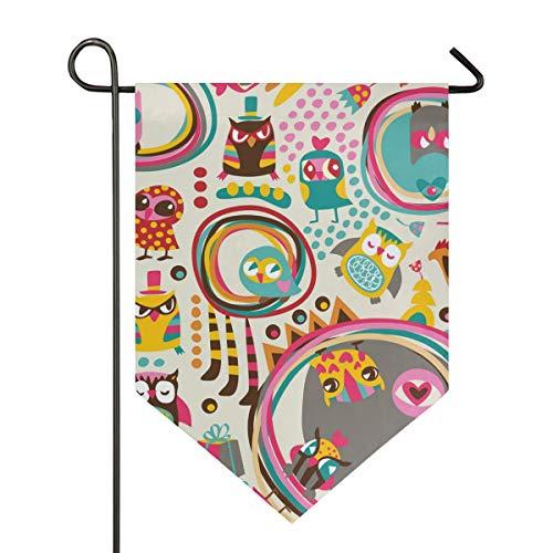 (Owl Pattern Print Garden Flags, Mildew Resistant Custom Waterproof Outdoor Flag, 28