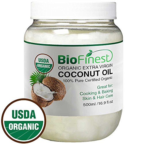 Price comparison product image BioFinest 100% Organic Extra Virgin Coconut Oil - Unrefined & Cold-Pressed - Free Recipe EBook - Best For Cooking,  Baking,  Soothing Skin & Hair Moisturizer,  1 lb,  16 oz