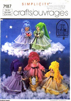 (Simplicity 7187 Crafts Sewing Pattern Gingham Angels Sculptured Dolls )