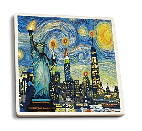 Lantern Press New York City, New York - Skyline - Van Gogh Starry Night (Set of 4 Ceramic Coasters - Cork-Backed, -