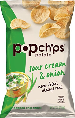 Popchips Potato Chips, Sour Cream & Onion Potato Chips, (3.5 oz Bags), Gluten Free Potato Chips, Low Fat, Kosher (Pack of 12) (Sour Cream Chips)