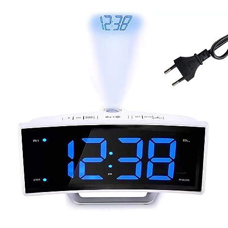 pegtopone - Despertador con proyector LED, Pantalla Digital de ...