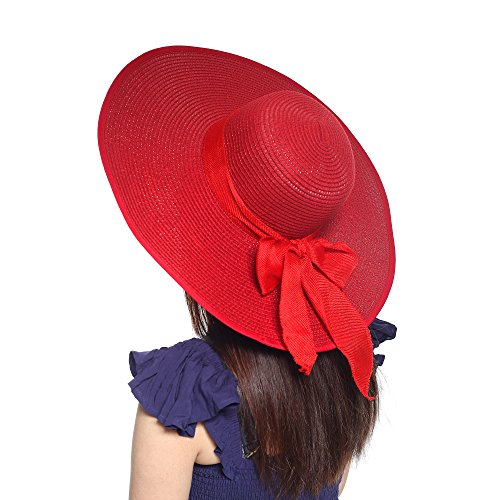 - Women's Summer Wide Brim Beach Hats Sexy Chapeau Large Floppy Sun Caps (Red Wine)