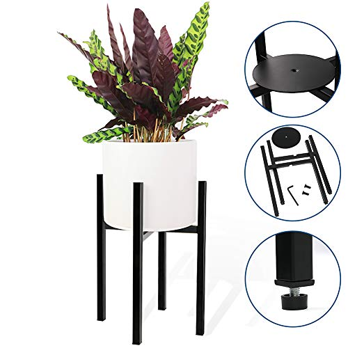Plant Stand, Angela&Alex Metal Flower Pot Stand with Plate Mid Century Modern Tall Pot Plant Holder Plant Display Fits Pots Up 7-10In for Indoor Outdoor Home Office Garden (Plant and Pot Not Included)