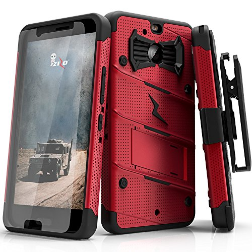 Zizo Bolt Series Compatible with HTC Bolt with [Screen Protector] Kickstand [Military Grade Drop Tested] Holster Belt Clip (Red/Black) (Htc M8 Phone Case Belt Clip)