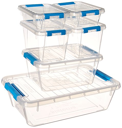 Sistema Contenedores de Almacenamiento de plástico, colección de Almacenamiento en el hogar, Multiusos, con Tapas,...