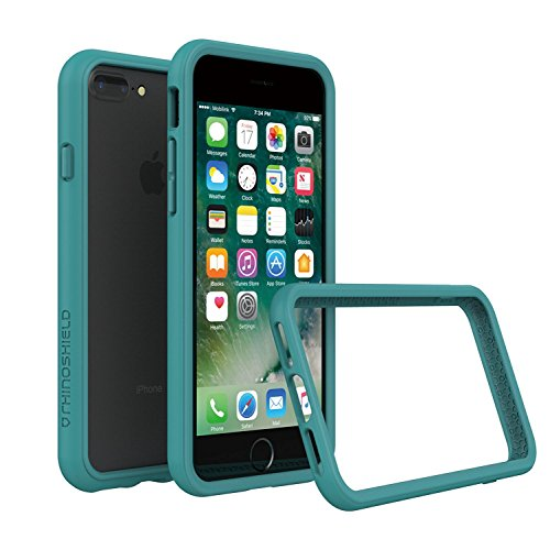RhinoShield Bumper Case for iPhone 8 Plus/iPhone 7 Plus [CrashGuard]   Shock Absorbent Slim Design Protective Cover [3.5 M / 11ft Drop Protection] - Teal Blue
