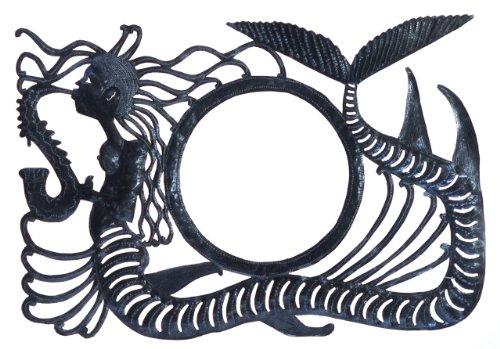Le Primitif Galleries Haitian Recycled Steel Oil Drum Outdoor Decor, 34 by 24-Inch, Mermaid - Mermaid Drum