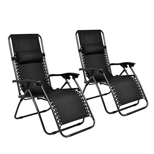 Generic YCUS150720-187 <8&1181*1> n Blacknge Patio C Outdoor Yard 2PC Zero Gravity Chairs Beach Garden Black Case Lounge Patio Chairs Beach Garden Black 2PC Zero Gr