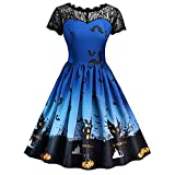 Women's Dresses, ShenPr Lace Splice Short Sleeve Halloween Pumpkin Bat Print Swing Evening Party Dress