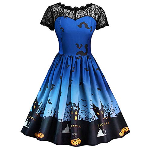 ThsiJJ Women Halloween Retro Dress Elegant Horror Pumpkin Printed Halloween Dresses Lace Hollow BlackSwing Dress Sky Blue -