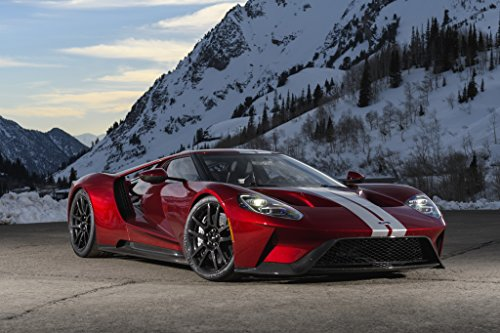 """Price comparison product image Ford GT (2017) Car Print on 10 Mil Archival Satin Paper Red Front Side Static View 11""""x17"""""""