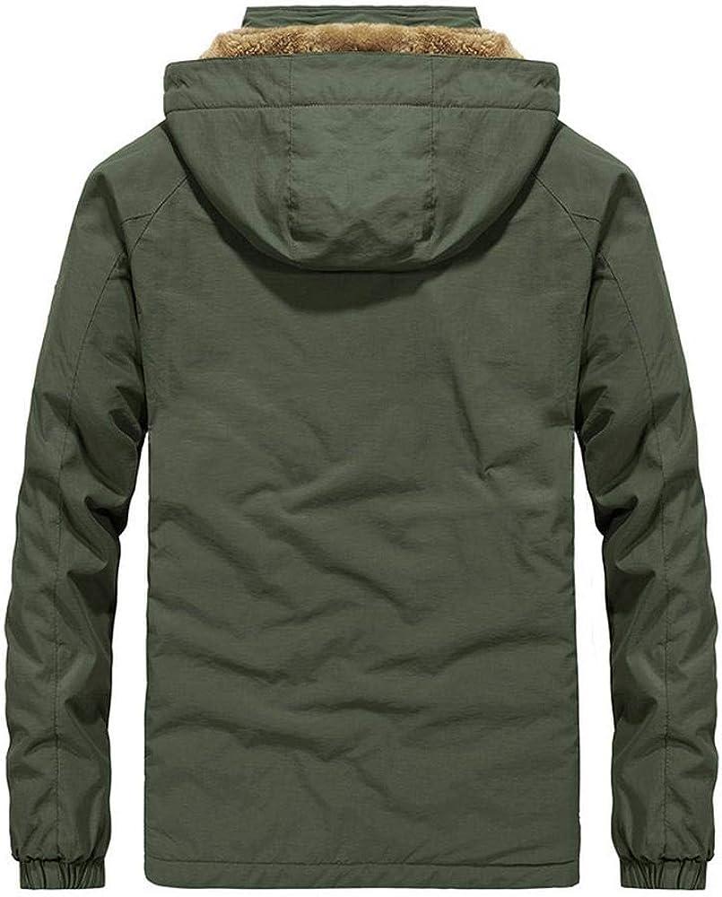 Coupe-Vent Extérieur Multi-Poches Manteaux d'hiver Veste Imperméable pour Hommes Kaki