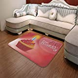 TecBillion Polyester Carpet,80th Birthday Decorations,for Meeting Room Dining Room,55.12'' x78.74'',Birthday Party Cupcake with Candle and