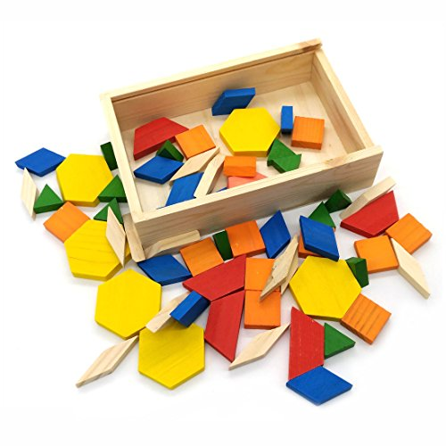 Wood Pattern Blocks - Geometric Shapes Wooden Pattern Blocks Tangram Puzzle Toys (60-pieces)