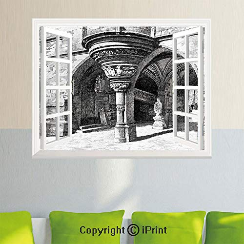Open Window Wall Decal Sticker,Gothic,Old Sketch of Antique Medieval European Arch in Paris Culture Heritage Vintage Art,Black White,35.4X 23.6inch,for Livingroom Bedroom Office