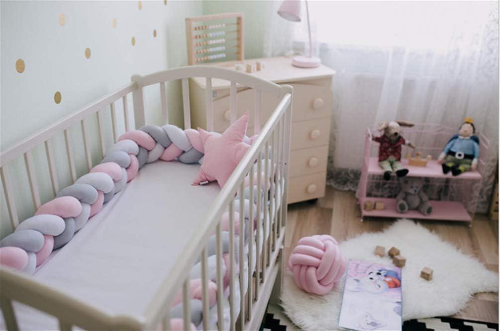 Decorative Pillow for Baby Nursery Crib Bedding QINGLOU cot Bumper Braid Pillow,Baby Head Guard Bumper Knot Braid Pillow Cushion White + Blue + Gray, 300cm