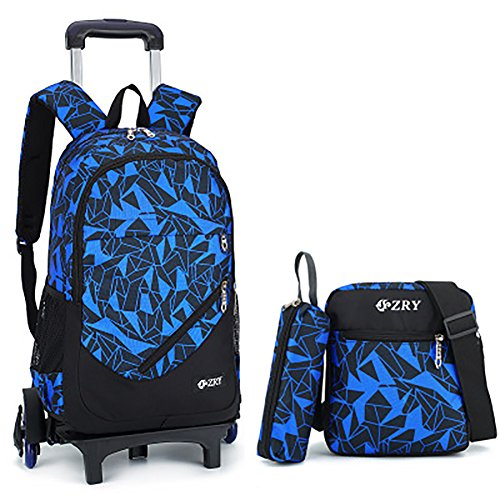 Meetbelify 3Pcs Rolling Backpack Boys Girls Trolley School Bags with Lunch Bag&Pencil Case,6 Wheels,Blue