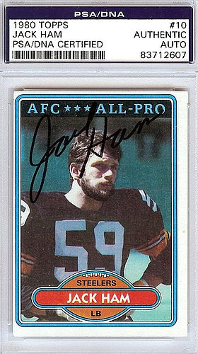 Jack Ham Signed 1980 Topps Trading Card #10 - PSA/DNA Authentication - Autographed NFL Football Memorabilia