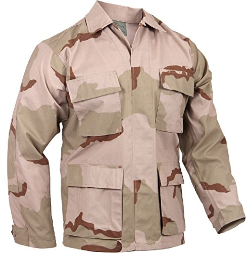Lightweight Tactical BDU Shirt Ripstop Military Fatigue Army Coat 4-Pocket ()