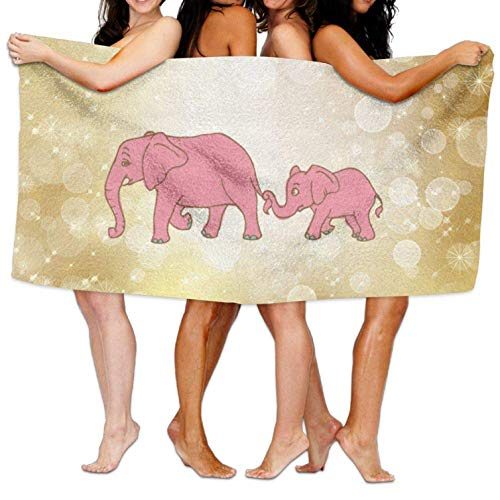 (Thin Microfiber Beach Towel Blanket, Easy Care Machine Wash Beach Towel Beach Pool Custom Bath Towel Soft Pink Mother and Baby Elephants Super Absorbent Microfiber)