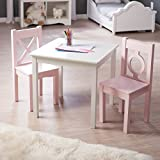 Lipper Hugs and Kisses Table and 2 Chair Set - & Pink