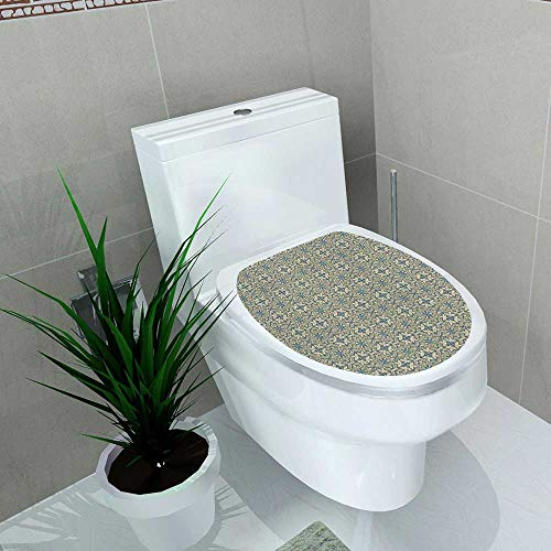 Bathroom Toilet Geometric Flora Victorian Inspired Baroque Style Design Abstract Leaves Retro Vinyl Decal Sticker W11 x L13