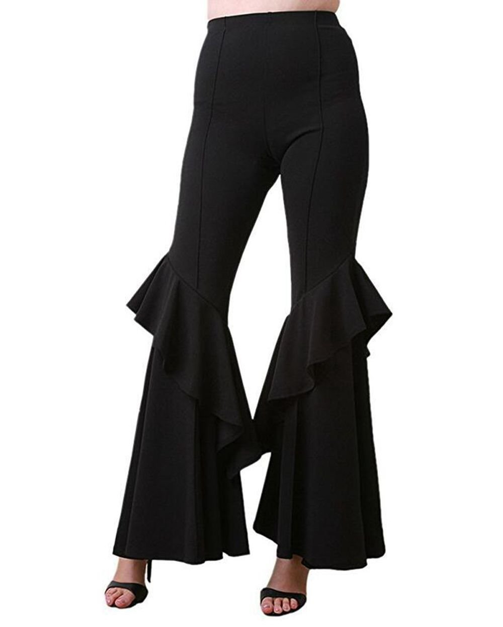 VERTTOP Women High Waist Plain Long Full Length Wide Leg Ruffle Falbala Bell Bottom Woman Pant Black S