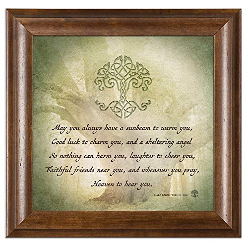 Elanze Designs Irish Prayer Tree Life 12 x 12 Brown Wood Framed Sign Plaque -