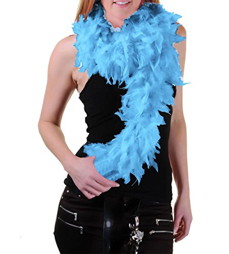 (MA ONLINE Ladies Fancy Dress Feather Boa Womens 80s Theme Party Burlesque Outfit Accessory Sky)