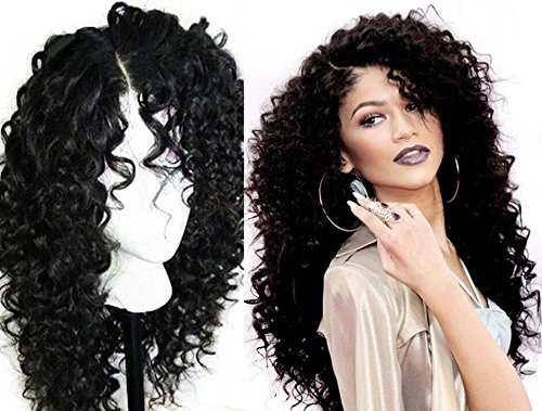[A2ZWIG African American Long Deep Curly Heat Resistant Synthetic Hair Wigs For Black Women 24] (Curly Wigs For Black Hair)
