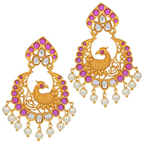 Aheli South Indian Style Faux Stone Studded Peacock Design Crafted Dangle Earrings Ethnic Wedding Festive Temple Jewelry for Women