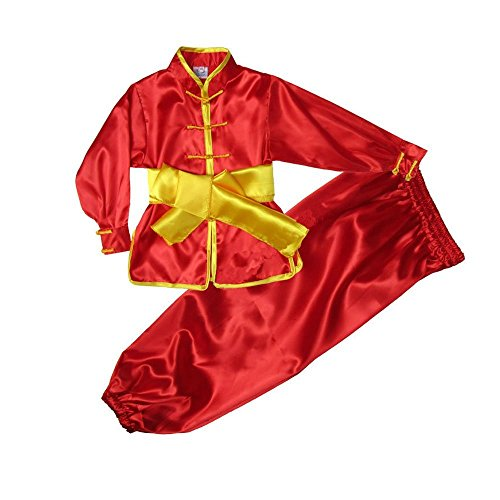 ZooBoo Kids' & Adult Chinese Traditional Wushu Costume Martial Arts Uniforms (Red, Height 180cm)