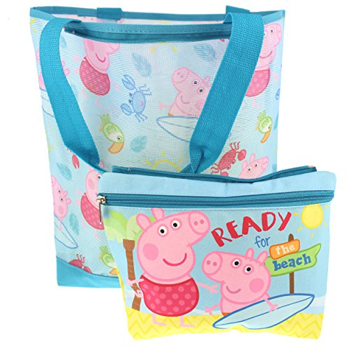 Peppa Pig Girls Mesh Beach Tote with Removable Insulated Pouch (One Size, Blue)