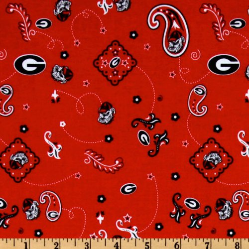 Collegiate Cotton Broadcloth University of Georgia Bandana Red Fabric By The Yard (Georgia Logo Square)