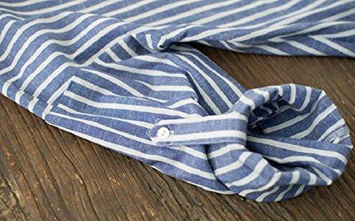 Abbottonata Epoca Nudo Lunghe T Maniche Cotone Vestito Blu A shirt Mettono A Coolred donne 0qHwXX