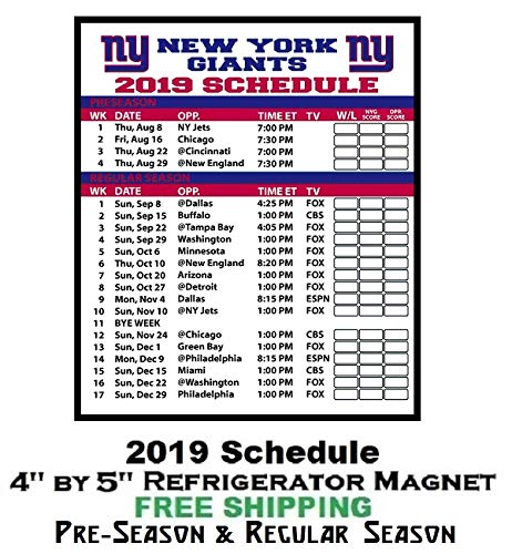New York Giants 2019 Schedule Amazon.com: New York Giants NFL Football 2019 Full Season Schedule