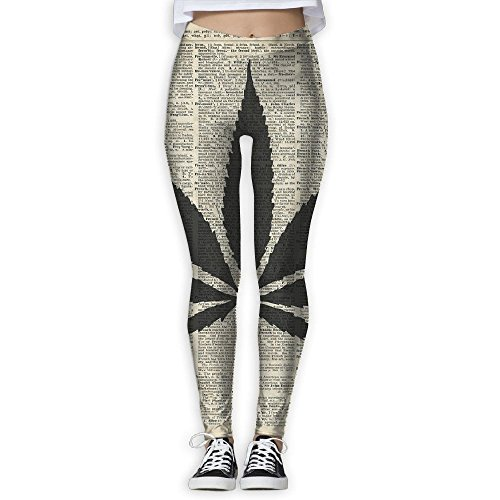 Cannabis Plant Dictionary Art Women Printed Full-Length Yoga Workout Leggings For Running Outdoor Sports