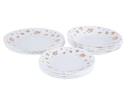 Piatti In Arcopal.Amazon Com Dajar Candice Dinner Set 18 Arcopal White Glass